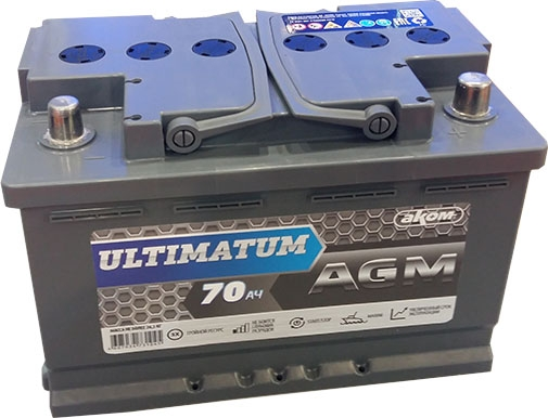АКОМ ULTIMATUM 70 AGM Евро 70Ah/760 обратная ( -  + ) 278x175x190